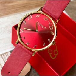 COACH蔻馳 PERRY系列 新款限量版女士手錶 一點鐘可愛小老鼠刻度 紅色錶盤 時尚簡約皮帶石英手錶 女款