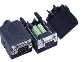 【佑齊企業 iCmore】DB9P 公 免焊RS232卡扣式螺桿或螺母接頭模組 / 9針 轉綠色端子台(含稅)