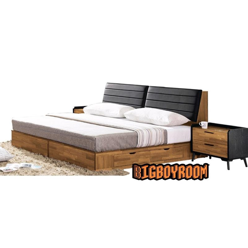 【BIgBoyRoom】工業風家具 北歐復古簡約造型雙人5尺床組卯丁舊化木頭造型 四抽床收納床頭櫃組F13系列