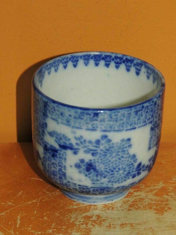 一件 中國杯子 2.75吋 x2.5 藍白清代 19古董復古