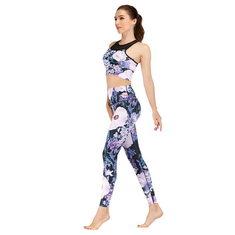 女士瑜伽套組健身房鍛鍊套裝運動胸罩緊身褲 健身普拉提服裝