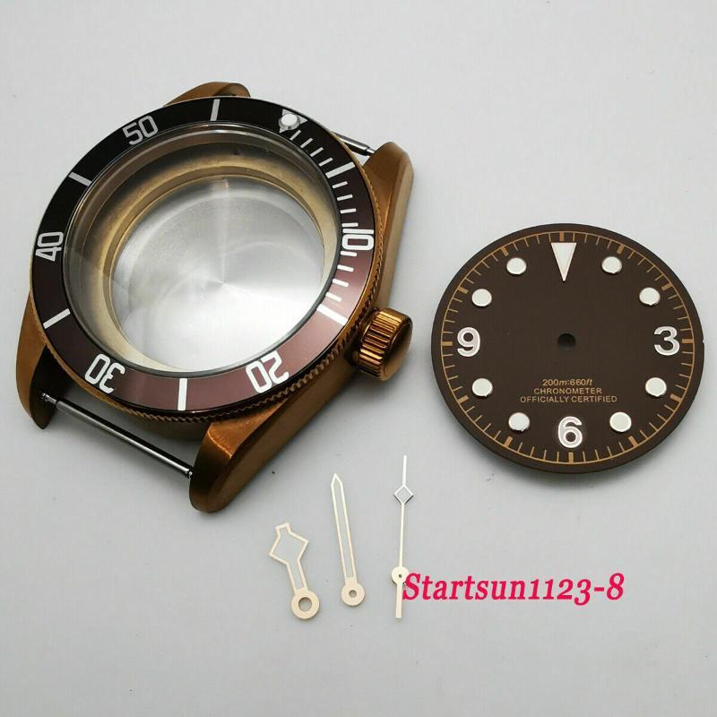 41mm黃銅塗層藍寶石玻璃手錶保護殼+錶盤+手指 用於nh35,nh36機芯