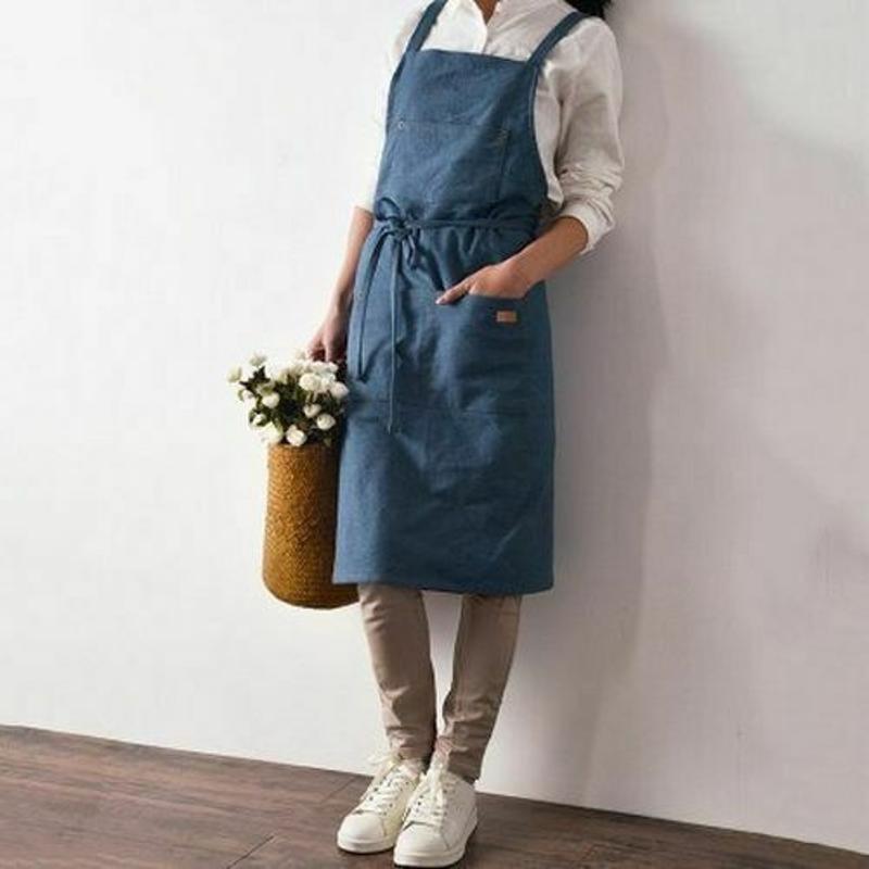 廚房餐廳工作牛仔布圍裙antifouling牛仔chef烹飪美髮師