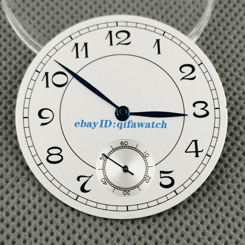 38.9mm白色手錶錶盤附藍色手適合eta 6498,海鷗st3620機芯