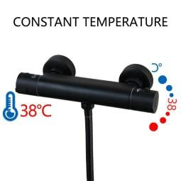 Thermostatic Bathtub Wall Mounted Mixer Shower Black Faucet Set Handheld Tap