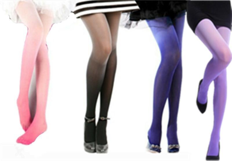 女士蘿莉塔時尚性感 30d 奧克爾水色天鵝絨漸變褲襪連褲襪