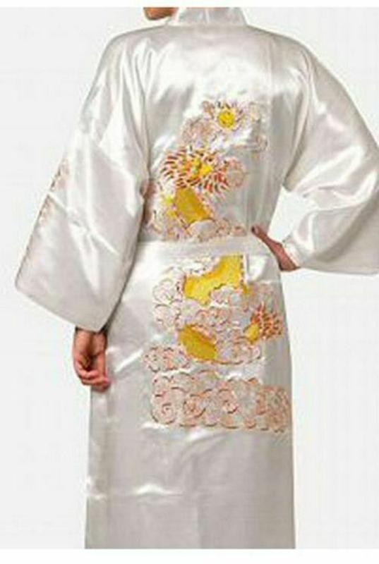 七龍紋刺繡女士和服長袍緞面絲綢長款女士睡衣