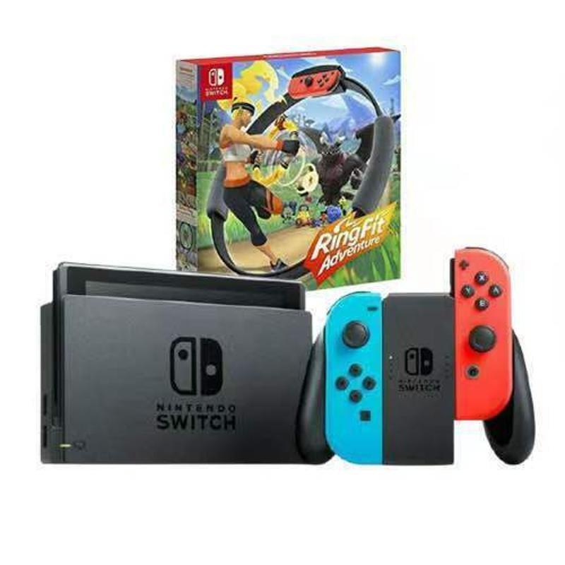 全身現貨Nintendo Switch NS 電力加強版+健身環精選組-紅藍機 *TW*