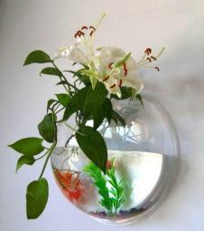 Wall-Hanging/Mount Fish Bowl with Decoration mini Aquarium beauty wall deco cute