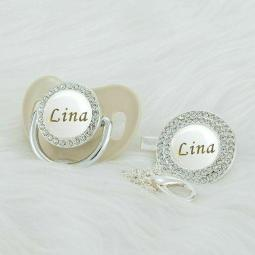 White Bling Pacifier Personalized Rose Silver Clip Bpa Free Unique Designs PWG-1