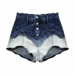 Women's Casual Shorts Fashion Denim High Waist Loose Patchwork Bottom Clothing