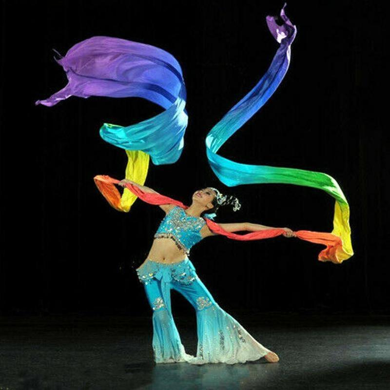 Super Long 6~12m*0.5m Dance Throwing Silk Ribbon Streamer And 2 Telescopic Stick