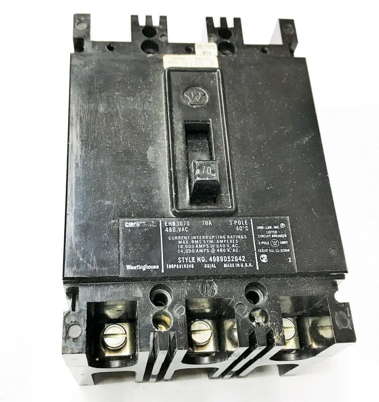 西屋70a 480vac 3極電路斷路器ehb3070 nos