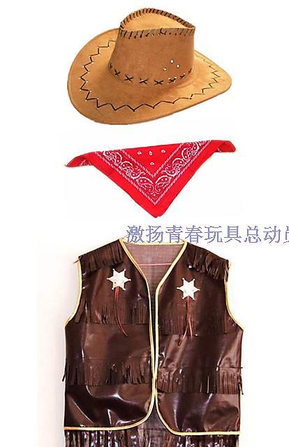 方巾牛仔帽+圍巾三角巾西部牛仔帽咖啡牛仔服牛仔圍巾紅色牛仔服