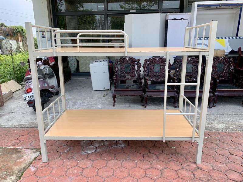 香榭二手家具*全新品 灰白色單人3尺 角管雙層床-鐵床-鐵製床架-上下舖-上下床-子母床-遊戲床-兒童床-宿舍床-高腳床