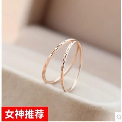 韓版鍍18K玫瑰金鈦鋼戒指女超細簡約關節食指尾戒日韓學生指環