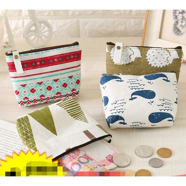 韓國迷你女布藝零錢包硬幣包學生短款小包包創意帆布拉鏈小方包   10個裝