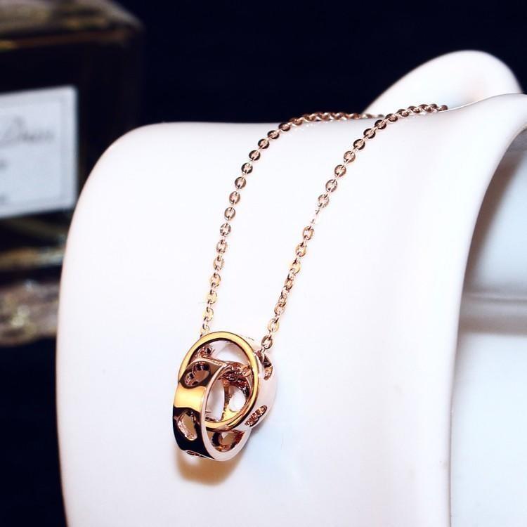全店滿200元出貨Xa日韓氣質甜美love 雙環玫瑰金配飾珍珠項鏈女飾品鎖骨鏈簡約吊墜