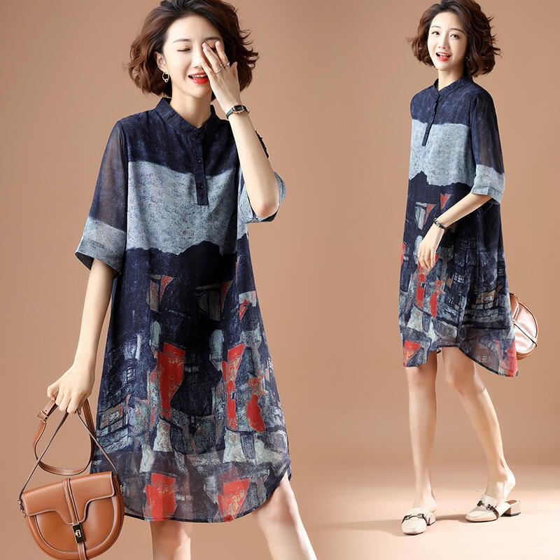 大碼洋裝 連身裙 洋氣印花2021新款大碼胖mm夏顯瘦減齡襯衫裙寬鬆氣質時尚連衣裙女