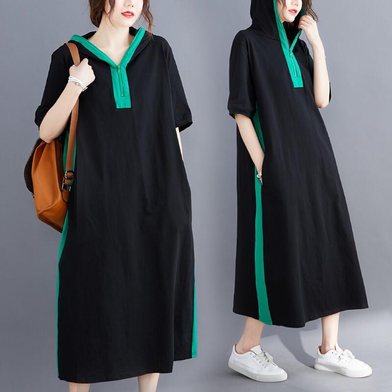 大碼洋裝 連身裙 大碼女裝夏裝新款洋氣寬鬆胖mm連帽顯瘦中長款撞色拼接遮肚連衣裙