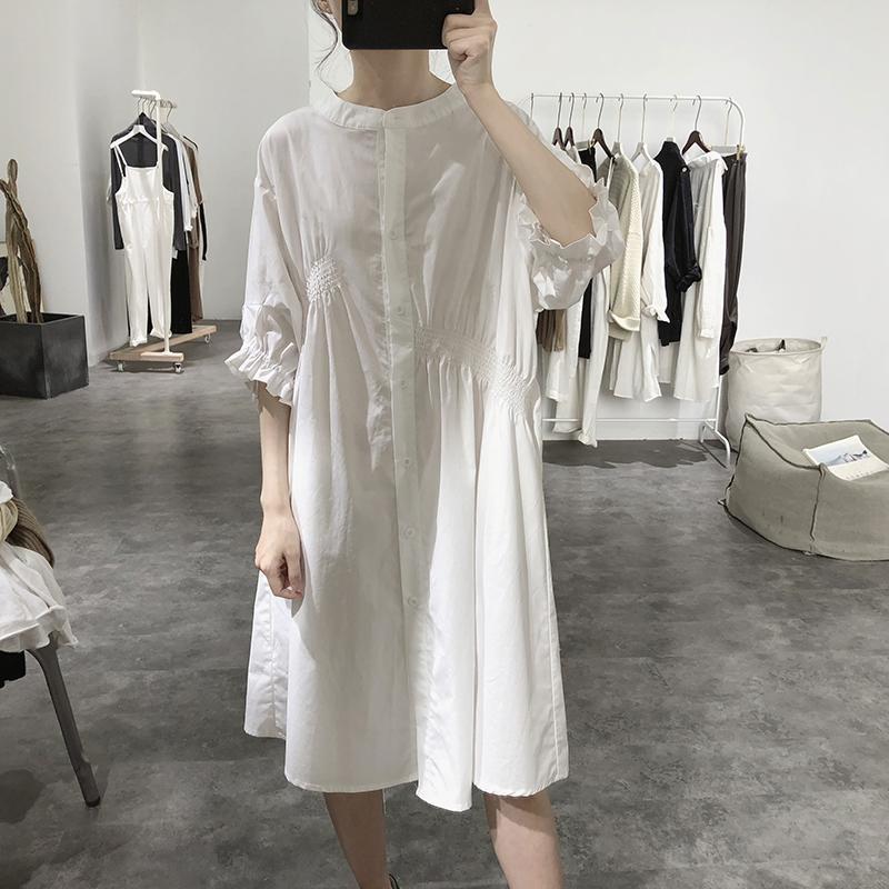 大碼洋裝 連身裙 連衣裙設計感小眾夏季新款不規則圓領高腰中袖寬鬆木耳邊棉質中裙