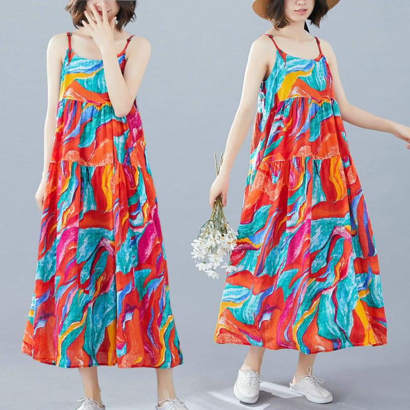大碼洋裝 連身裙 吊帶連衣裙大碼女裝微胖mm夏季碎花棉麻顯瘦減齡度假沙灘大擺裙子
