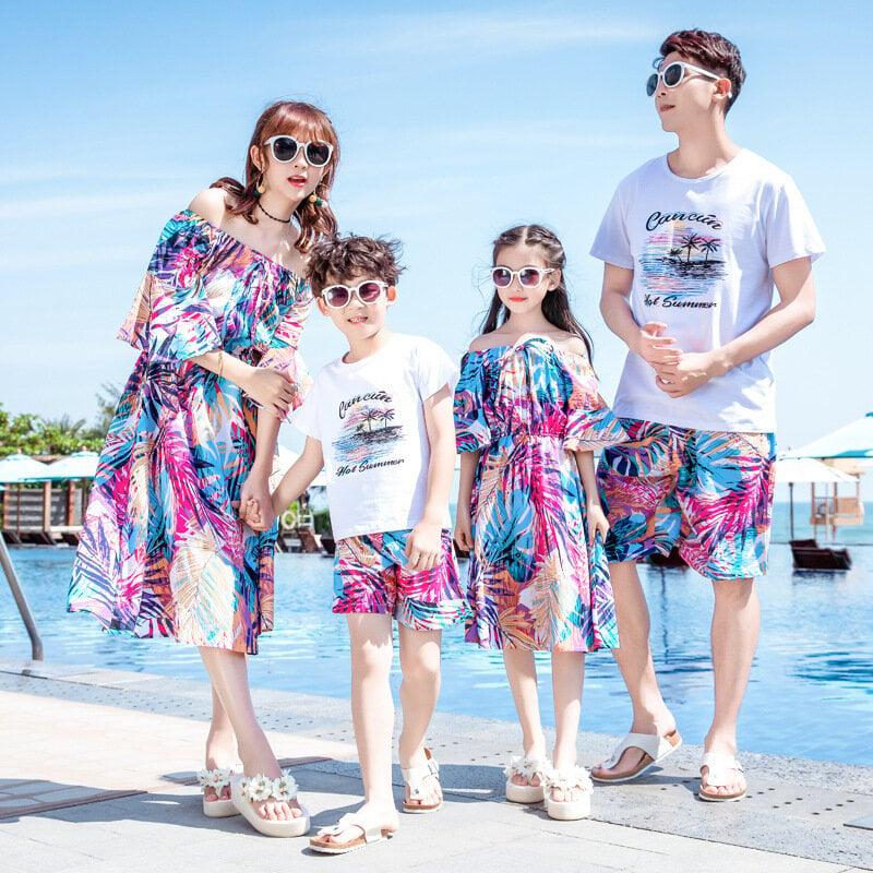 [紅升3件起批]2105 親子裝 三亞親子裝夏裝2020新款一家三口海邊度假休閑母女情侶連衣裙套裝6