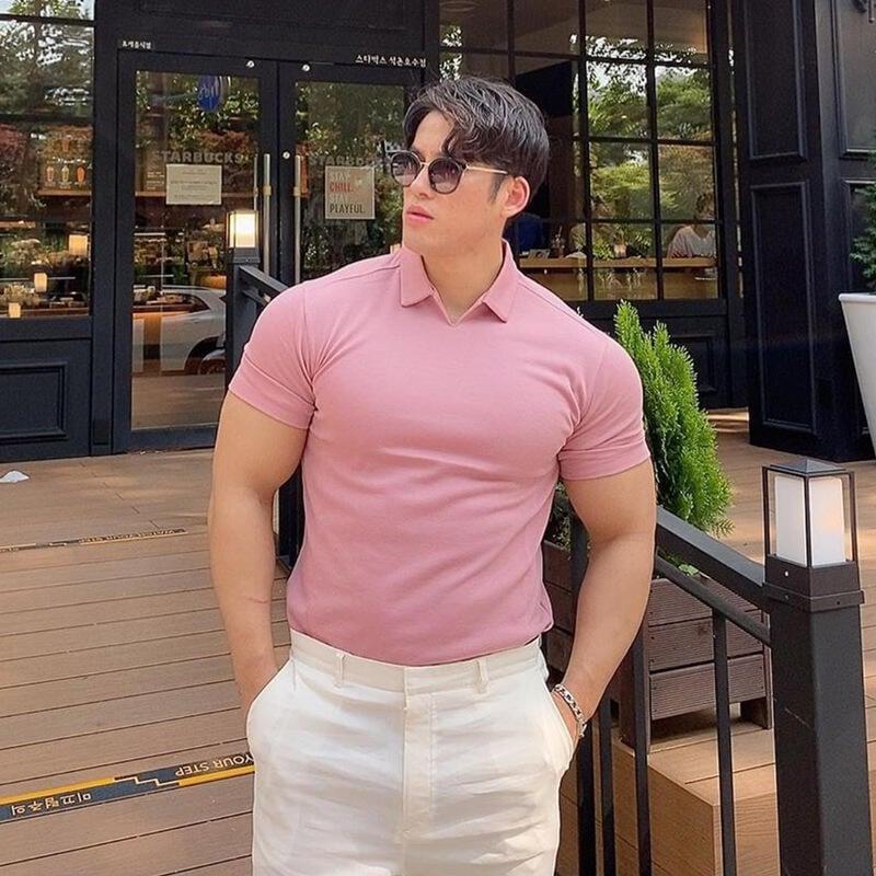 針織polo衫男潮牌BF短袖翻領純色t恤修身顯肌肉健身教練衣服夏季棉