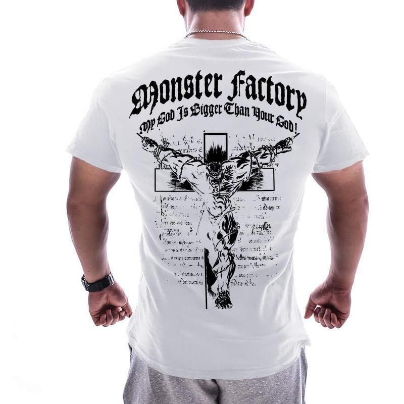 肌肉歐美健身衣運動BF短袖T恤兄弟男跑步訓練服休閑寬松印花上衣潮