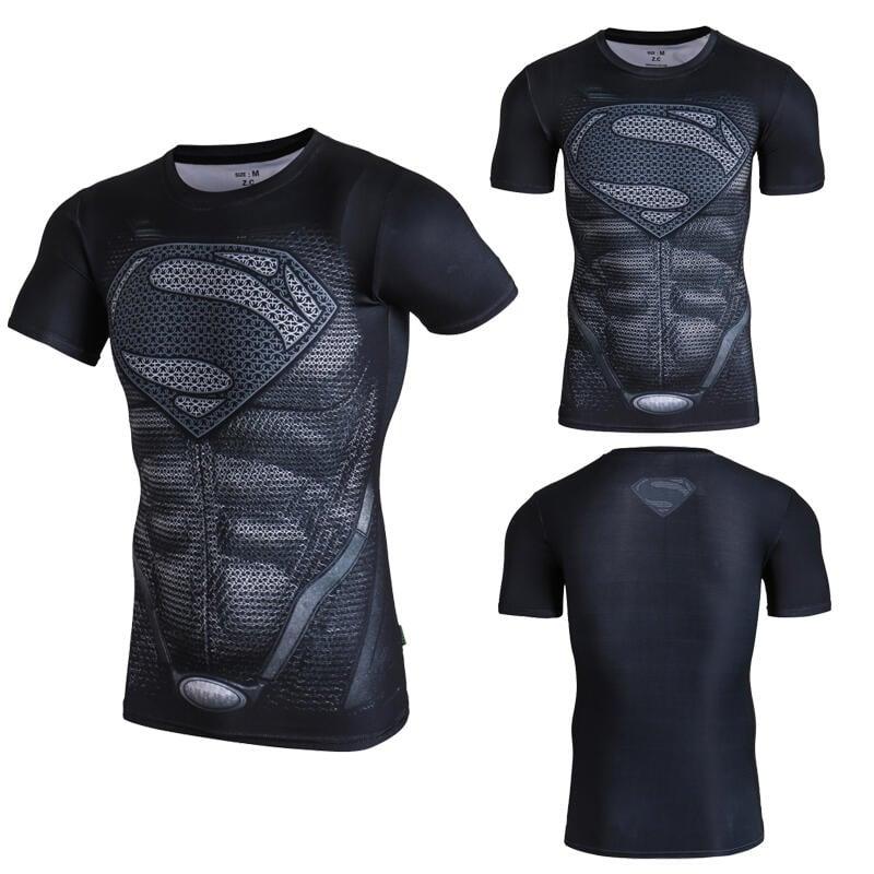 漫威超人蜘蛛俠BF短袖緊身衣t恤男士肌肉透氣健身服運動彈力薄