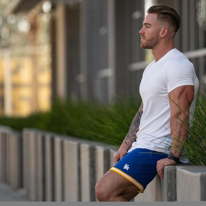 夏季肌肉型男兄弟健身BF短袖男t恤訓練緊身衣純棉T恤男汗衫修身衣服