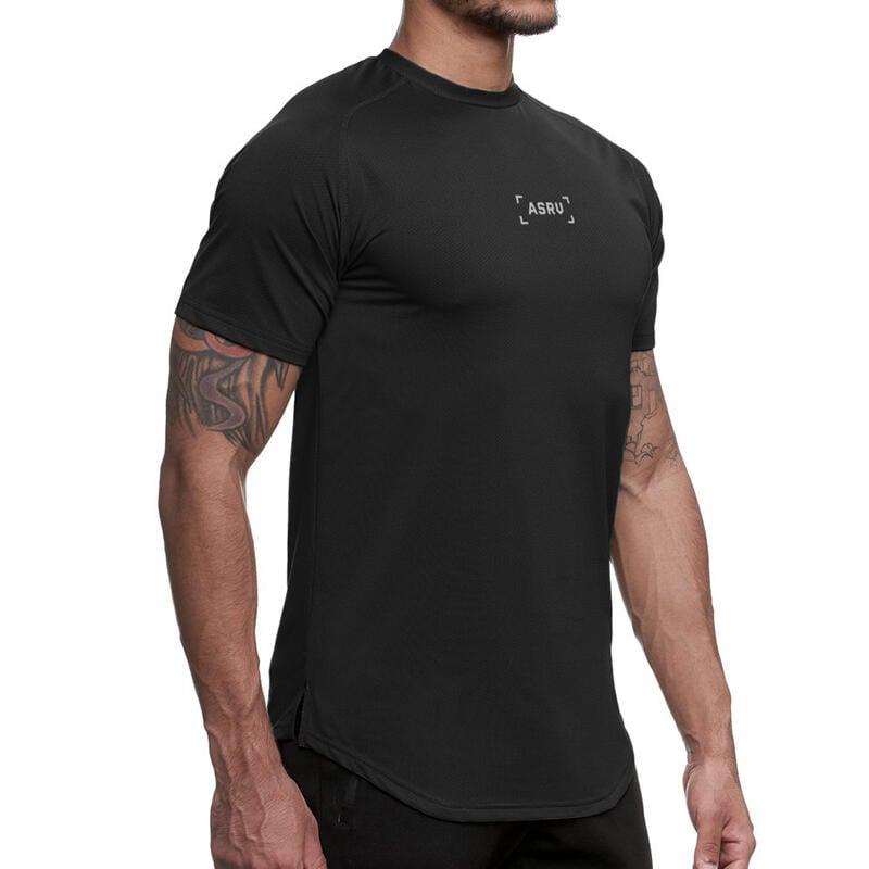 夏季歐美男士健身BF短袖肌肉兄弟速干彈力運動寬松圓領印花T恤