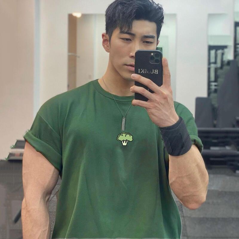寬松大碼西藍花印花BF短袖男子夏季棉彈力運動休閑T恤圓領肌肉上衣