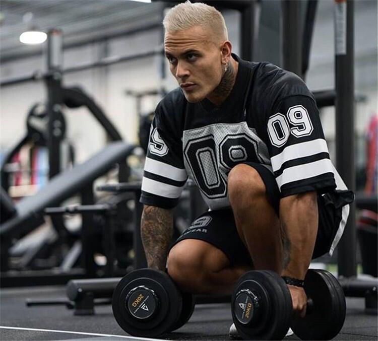 夏季寬松大碼健身運動T恤男肌肉足球籃球訓練速干透氣BF短袖上衣男