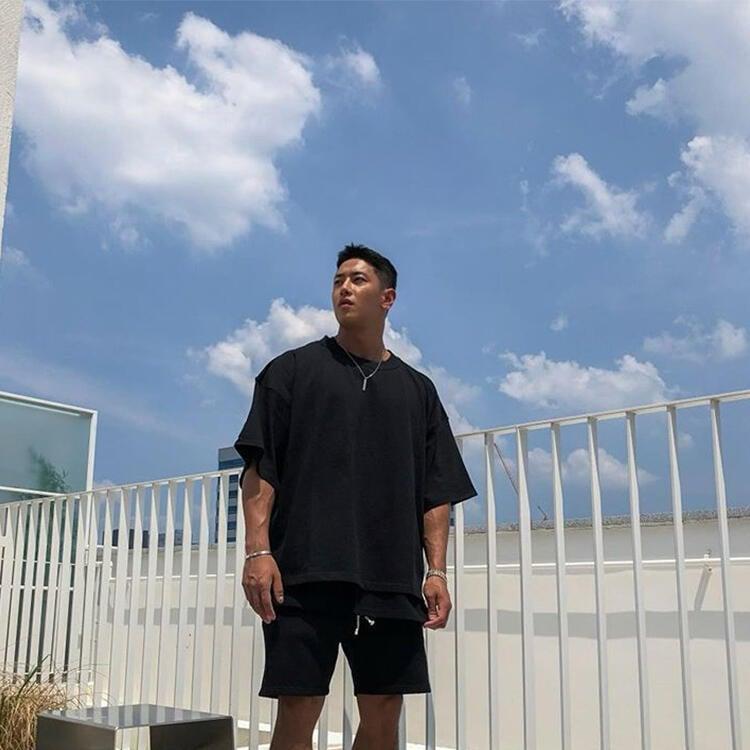 肌肉隊長潮牌BF短袖健身服男兄弟百搭透氣寬松訓練休閑運動T恤衣服
