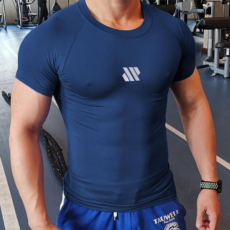 肌肉純色健身衣男速干衣運動緊身衣BF短袖T恤跑步健身教練兄弟擼鐵