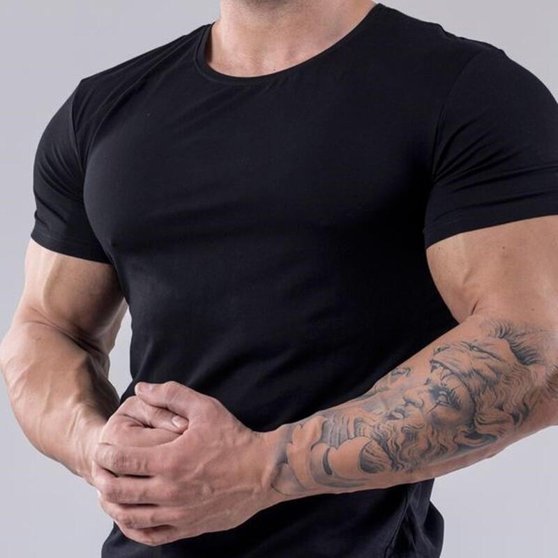夏季純棉彈力BF短袖男修身款透氣吸汗圓領BF短袖T恤衫肌肉兄弟純色T恤