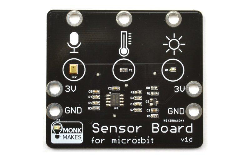 micro:bit 溫度、音量、亮度三合一多功能擴充版 MonkMakes Sensor Board