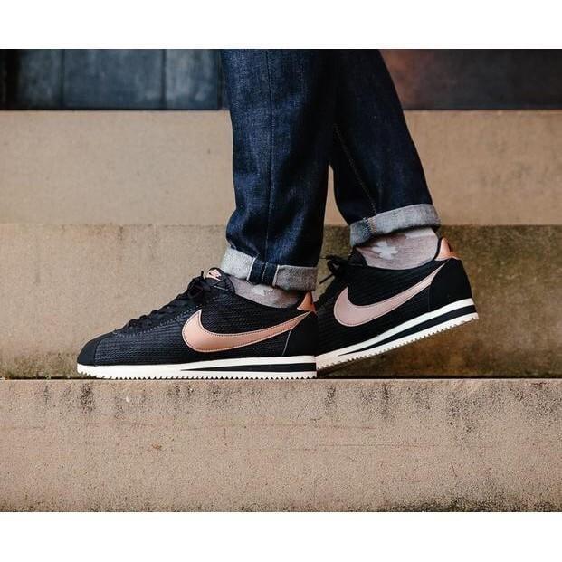 台灣現貨Nike Wmns Classic Cortez Leather Lux 阿甘鞋 玫瑰金 黑