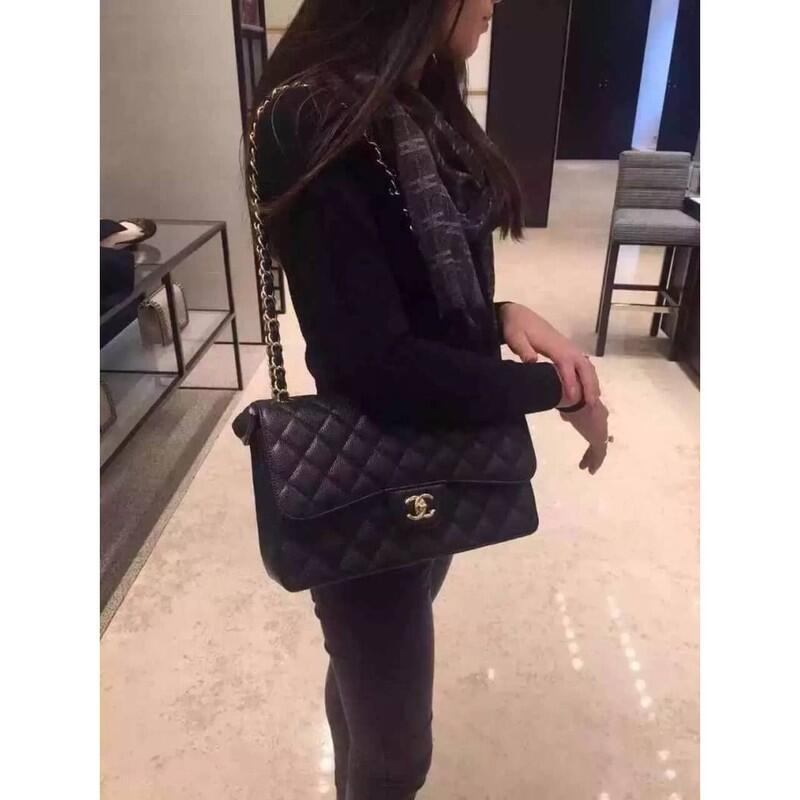 現貨Chanel 小香 黑色金鏈 荔枝皮 CHANEL COCO 2.55 30cm 等好久喔 壓斜挎包 側背包 斜背包