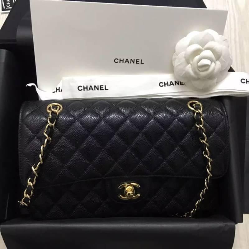 灣現貨Chanel 小香 黑色 金鏈 荔枝皮 CHANEL COCO 2.55 25cm 壓邊新款斜挎包 側背包 斜背包