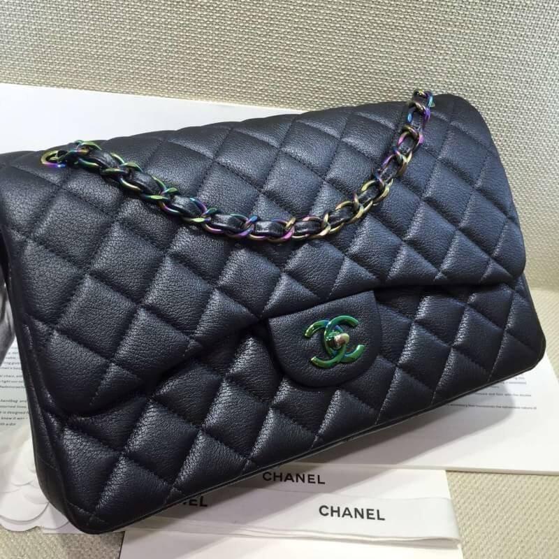 台灣現貨Chanel 小香 雷射彩釦 最新 黑色羊皮雷射彩鏈 CHANEL COCO 2.55斜挎包 側背包 斜背包