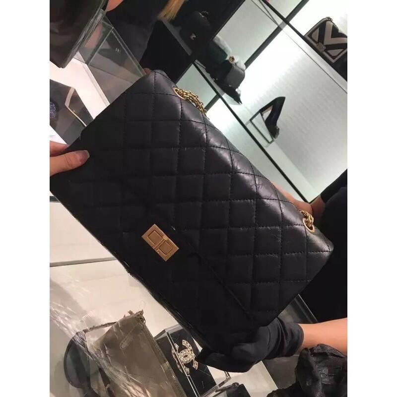 台灣現貨chanel 經典 CHANEL COCO 2.55 復古款 肩背包  經典菱格紋 黑色金斜挎包 側背包 斜背包