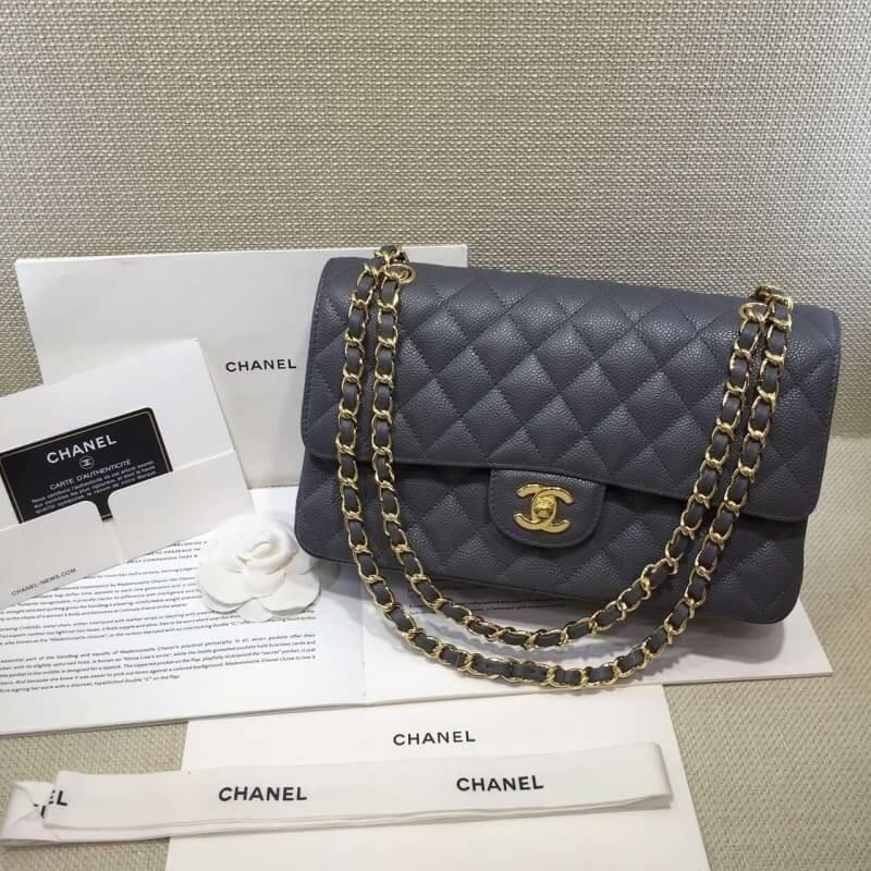 台灣現貨Chanel 小香 荔枝紋壓邊新款 CHANEL COCO 2.55 白金釦(香檳金) 鐵手提包 斜挎包 側背包