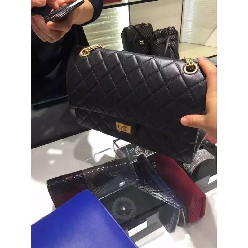 台灣現貨chanel 經典 CHANEL COCO 2.55 復古款 肩背包  經典菱格紋 黑色金手提包 斜挎包 側背包
