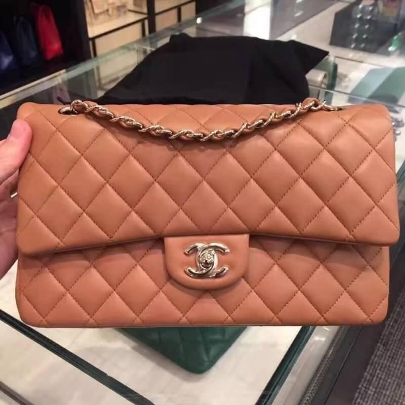 台灣現貨Chanel 小香 金釦 焦糖奶茶 羊皮 CHANEL COCO 2.55  25CM手提包 斜挎包 側背包 包