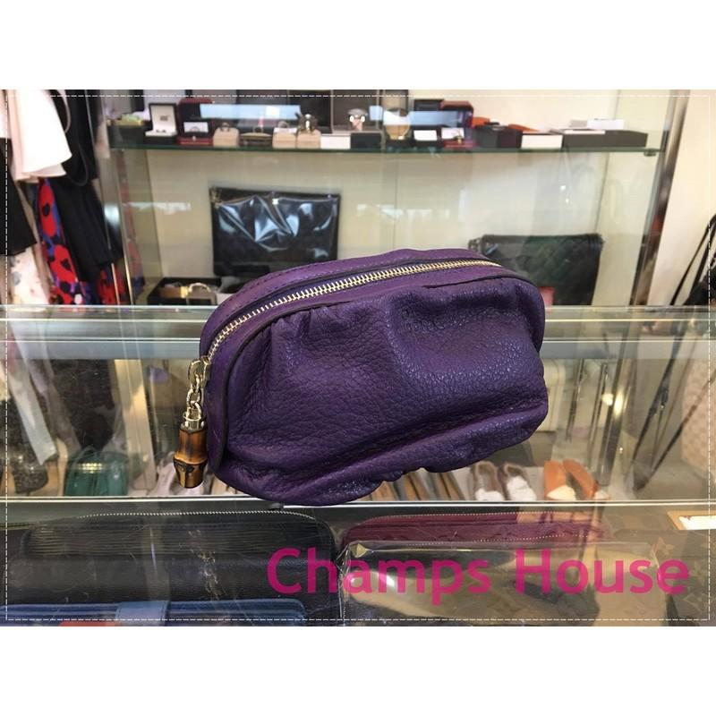 台灣現貨GUCCI 246175 紫色全皮竹節 化妝包 收納包 (XB5644)