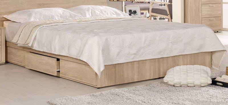 【風禾家具】FCM-99-9@橡木色5尺雙人床底箱【台中8600送到家】床台 床架 低甲醛木心板 單邊三抽屜 台灣製傢俱
