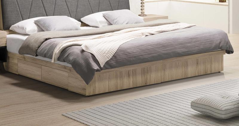 【風禾家具】FSY-2-2@橡木色雙人5尺雙抽屜床底【台中9400送到家】床台 床底箱 北歐風 低甲醛木心板 台灣製傢俱