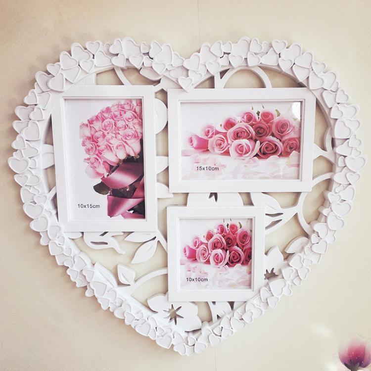 【全館免運】 相框 三框創意組合連體心形相架影樓像框愛心結婚禮 -【行運時代】
